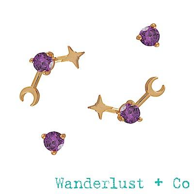 Wanderlust+Co 生日石系列- 二月耳環