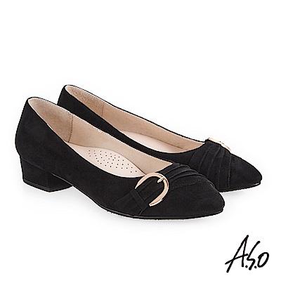 A.S.O 義式簡約 實穿百搭都會真皮跟鞋 黑
