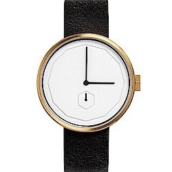 AÃRK 香檳金幾何簡約真皮革腕錶 /白38mm