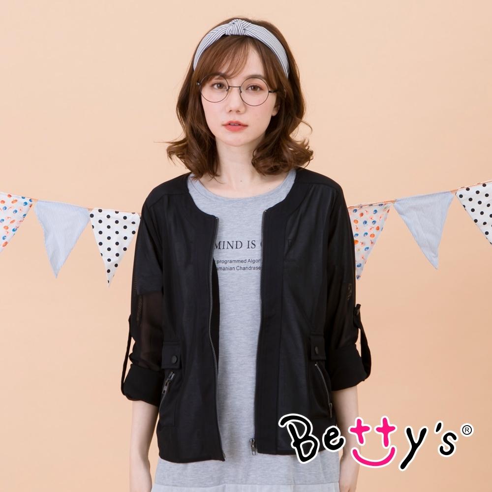 betty's貝蒂思 透膚網紗造型外套(黑色)