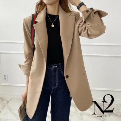外套 正韓經典款翻領兩釦西裝外套(卡其)N2