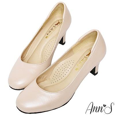 Ann'S空姐美腿款全真羊皮中跟包鞋-金(版型偏小)