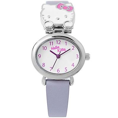 HELLO KITTY 可愛立體貓頭手錶 淺紫/27mm