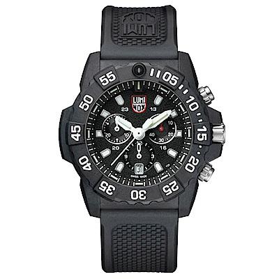 LUMINOX 雷明時 3580海豹三眼計時腕錶-消光黑x白/45mm