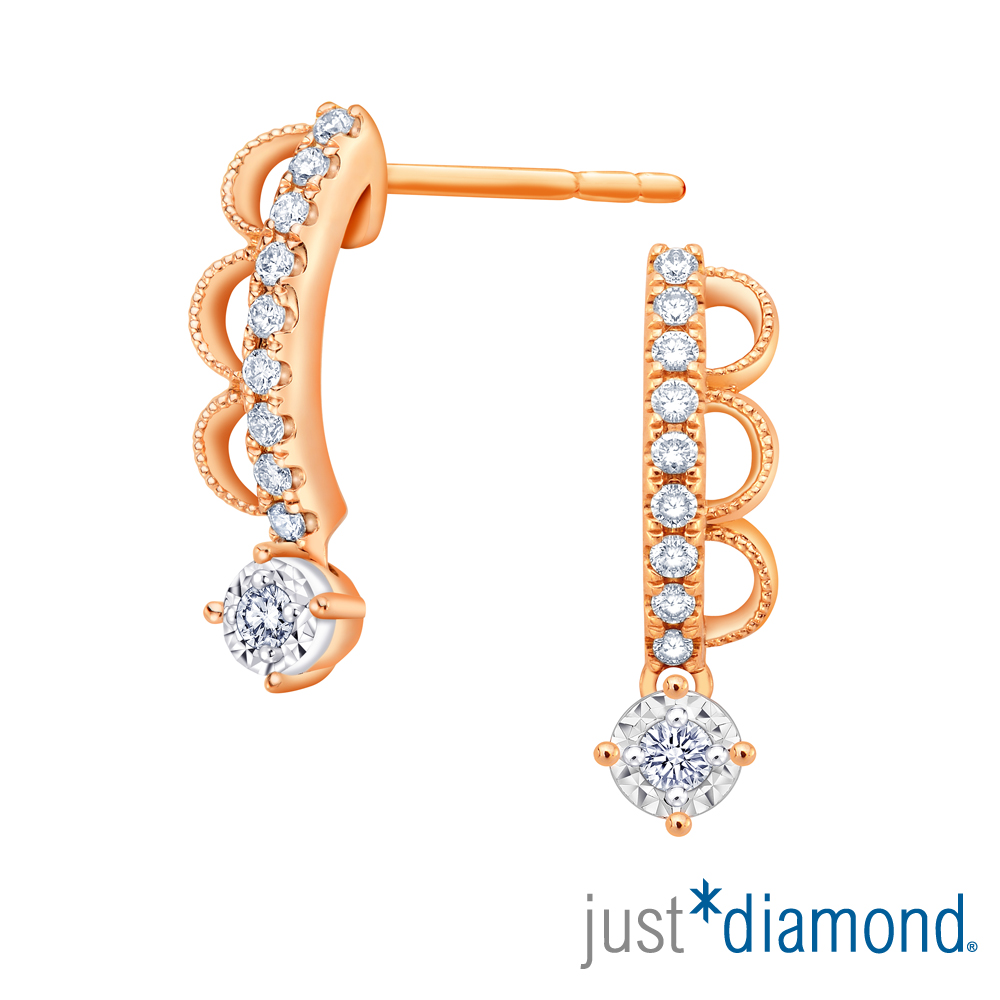 Just Diamond Lacy Crown18K玫瑰金系列 鑽石耳環 product image 1