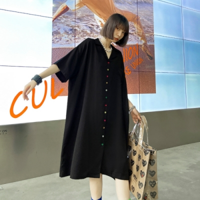 獨特個性彩釦西裝V領寬鬆開衫裙-F(共二色)-CLORI