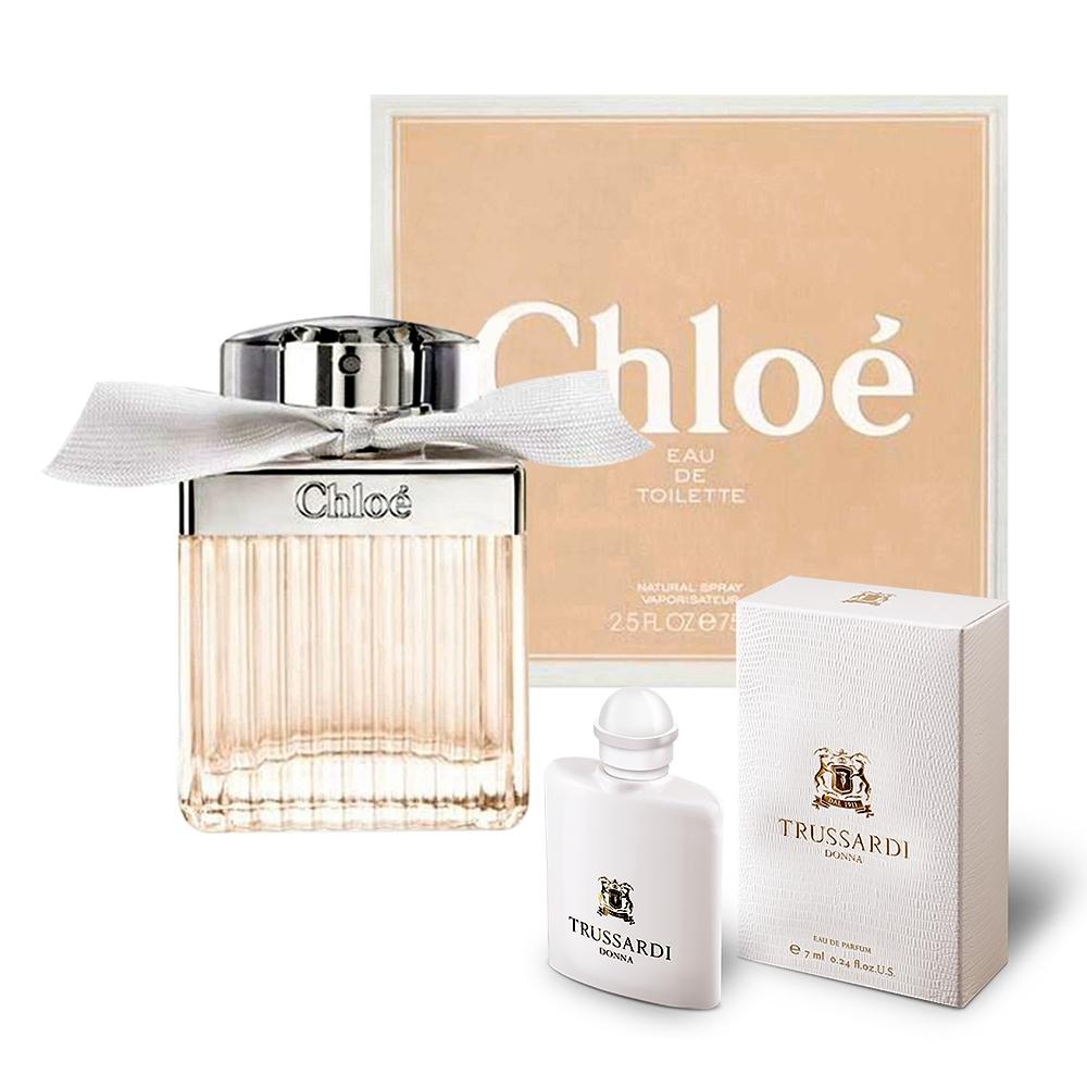 Chloe 白玫瑰女性淡香水 75ml+楚沙迪DONNA女小淡香精7ml