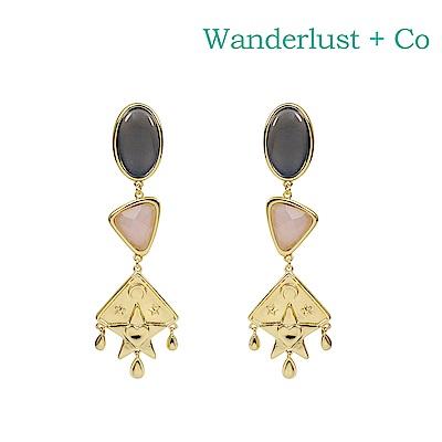 Wanderlust+Co 澳洲時尚品牌 Rhea復古寶石垂墜式耳環 金色