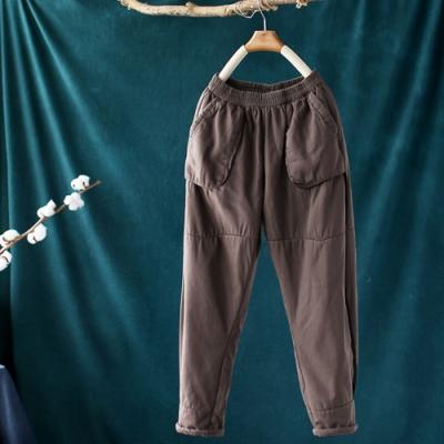 純棉口袋拼接鬆緊腰夾棉寬鬆哈倫長褲-設計所在