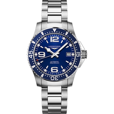 LONGINES浪琴 征服者300米64小時動力儲存機械錶-藍/39mm