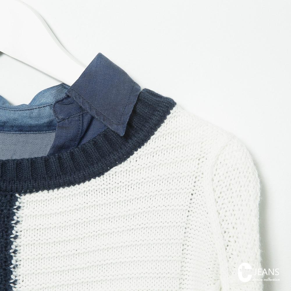 CANTWO JEANS假兩件紋理拼接針織衫-共兩色