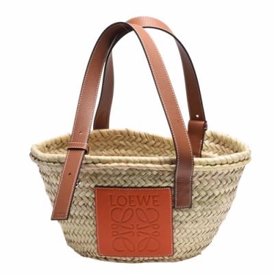 LOEWE Basket系列品牌LOGO烙印小牛皮提把竹編提籃/手提包(小-橘)