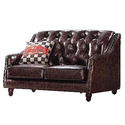 品家居 布拉可透氣皮革沙發雙人座-129x83x82cm免組