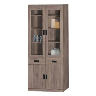 綠活居 菲迪現代風2.7尺四門二抽書櫃/收納櫃-80.5x38.5x199cm免組