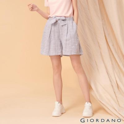 GIORDANO 女裝棉麻蝴蝶結綁帶短褲-61 藍白條紋