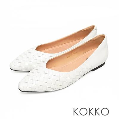 KOKKO方頭編織柔軟感羊皮休閒微寬平底鞋清爽白