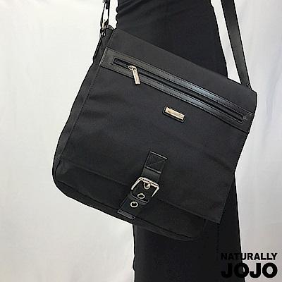 【NATURALLY JOJO】中性尼龍商務肩背包(黑)