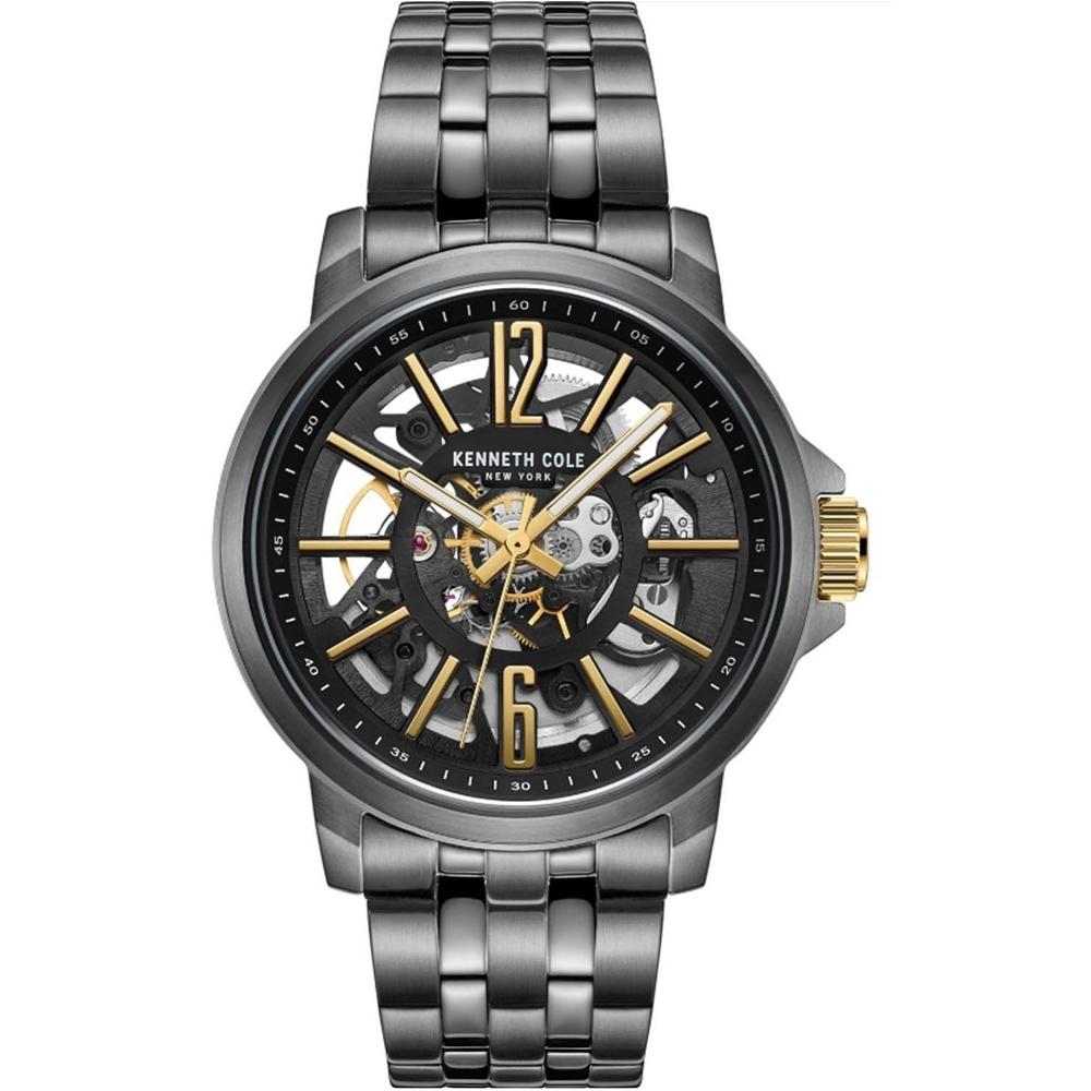 KENNETH COLE KC50779012 自動上鍊鏤空機械 男錶 不鏽鋼錶帶 槍灰色 黑金面盤