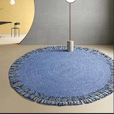 印度進口羊毛地毯110x110cm-圓牛仔藍 (H014276633)