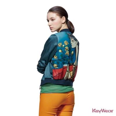 KeyWear奇威名品    後片藝術印圖短版長袖夾克-石墨綠色