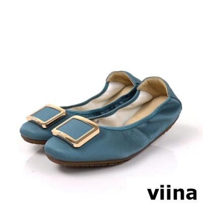 viina 方頭蜥蜴紋金邊方釦摺疊娃娃鞋-藍綠