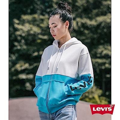 Levis 女款 連帽外套 Oversize 寬鬆版型 字母Logo 水藍