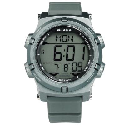JAGA 捷卡 電子運動 倒數計時 計時碼錶 鬧鈴 日常生活防水 橡膠手錶-灰色/47mm