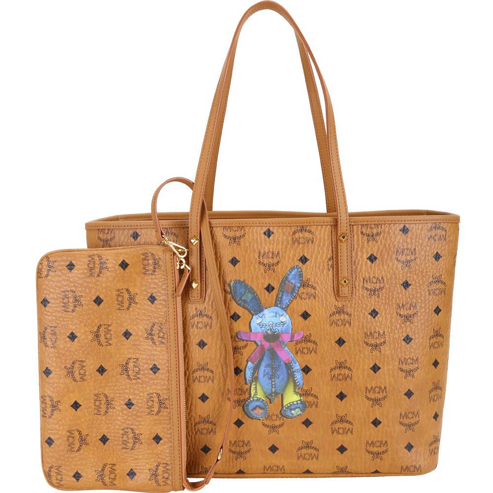 MCM Stark Rabbit 中款 兔子圖案購物包(附萬用包/棕色) @ Y!購物