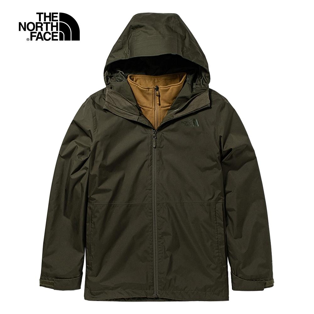The North Face北面男款綠棕色防水透氣三合一外套 5AXUT89
