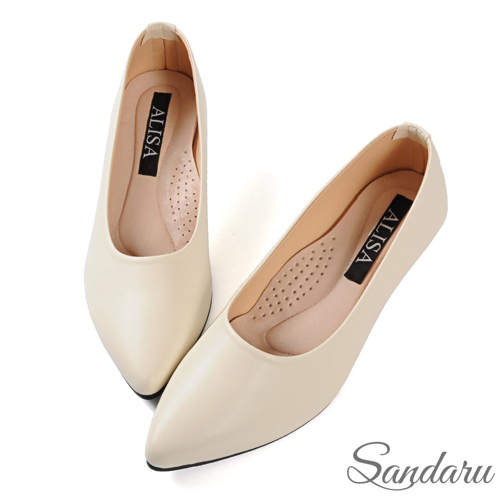 山打努SANDARU-OL工作鞋 穩定好走軟底尖頭楔型鞋-米