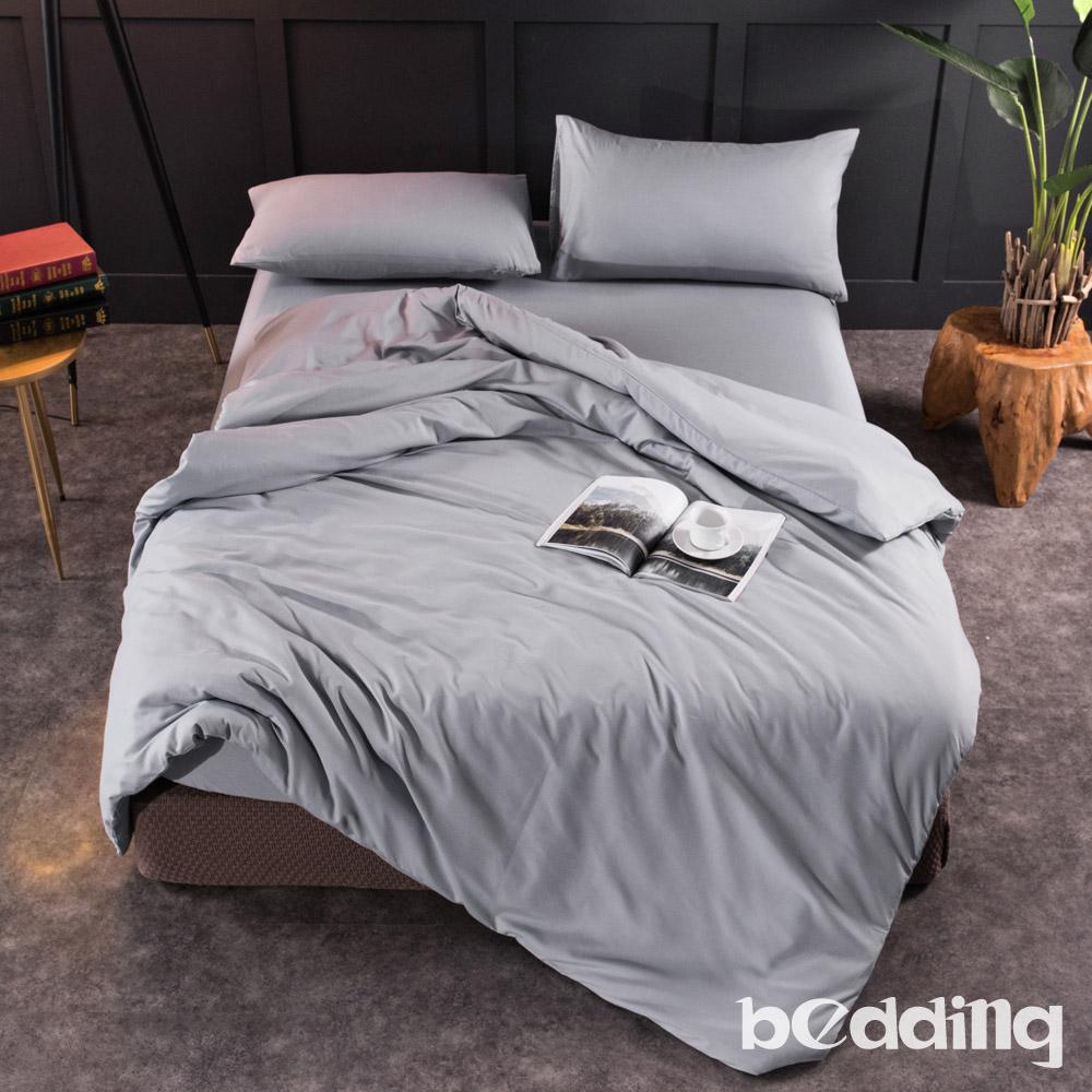 BEDDING-活性印染日式簡約純色系特大雙人薄式床包枕套三件組-明灰色