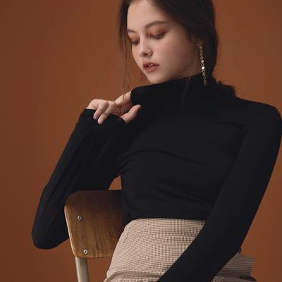 AIR SPACE LADY 經典高領純色棉彈上衣(黑)