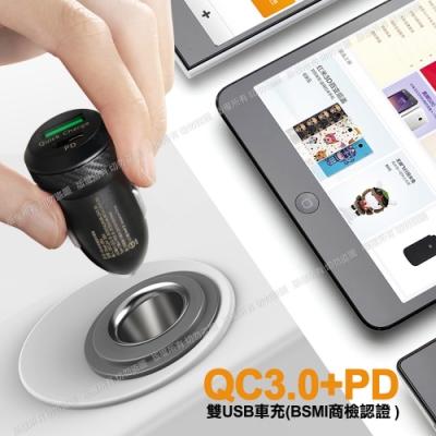 商檢認證 PD+QC3.0 USB 大功率 雙孔超急速車用充電器