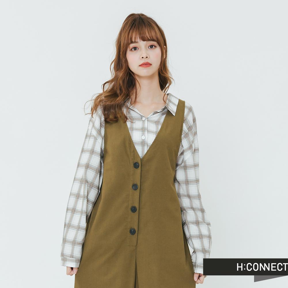 H:CONNECT 韓國品牌 女裝-簡約排扣連身寬褲-棕