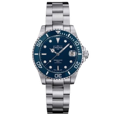 DAVOSA 165.195.40 TERNOS MEDIUM AUTOMATIC 藍色專業陶瓷外圈200M潛水女錶/36mm