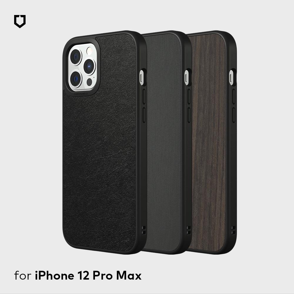 犀牛盾iPhone12 Pro Max Solidsuit皮革/橡木黑/髮絲紋防摔背蓋手機殼
