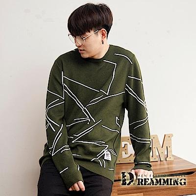 Dreamming 潮流滿版線條親膚圓領針織衫毛衣-共三色