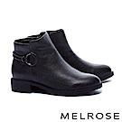 短靴 MELROSE 簡約率性圓釦繫帶粗低跟短靴-黑