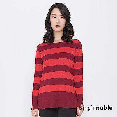 獨身貴族 前衛靈魂撞色條紋拼接針織衫(2色)