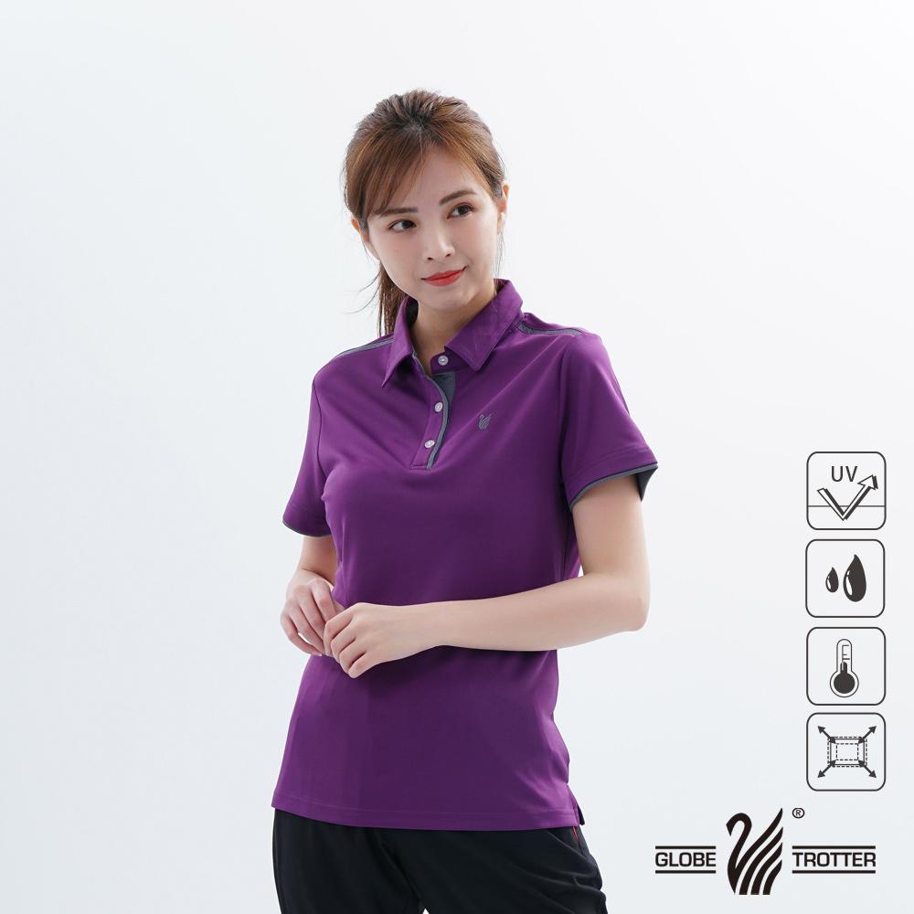 【遊遍天下】女款吸濕排汗抗UV機能POLO衫GS1033深紫灰