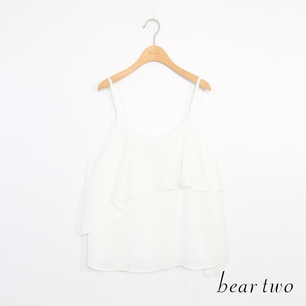 beartwo-素色雪紡層次背心-白