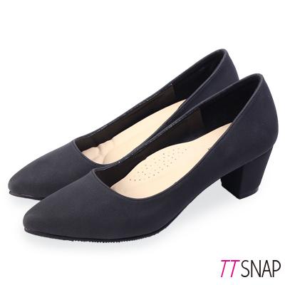 TTSNAP中跟鞋-MIT高雅修長粗跟尖頭鞋 黑