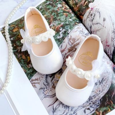 Swan天鵝童鞋-甜蜜夢境珍珠花朵學步寶寶鞋1588-白