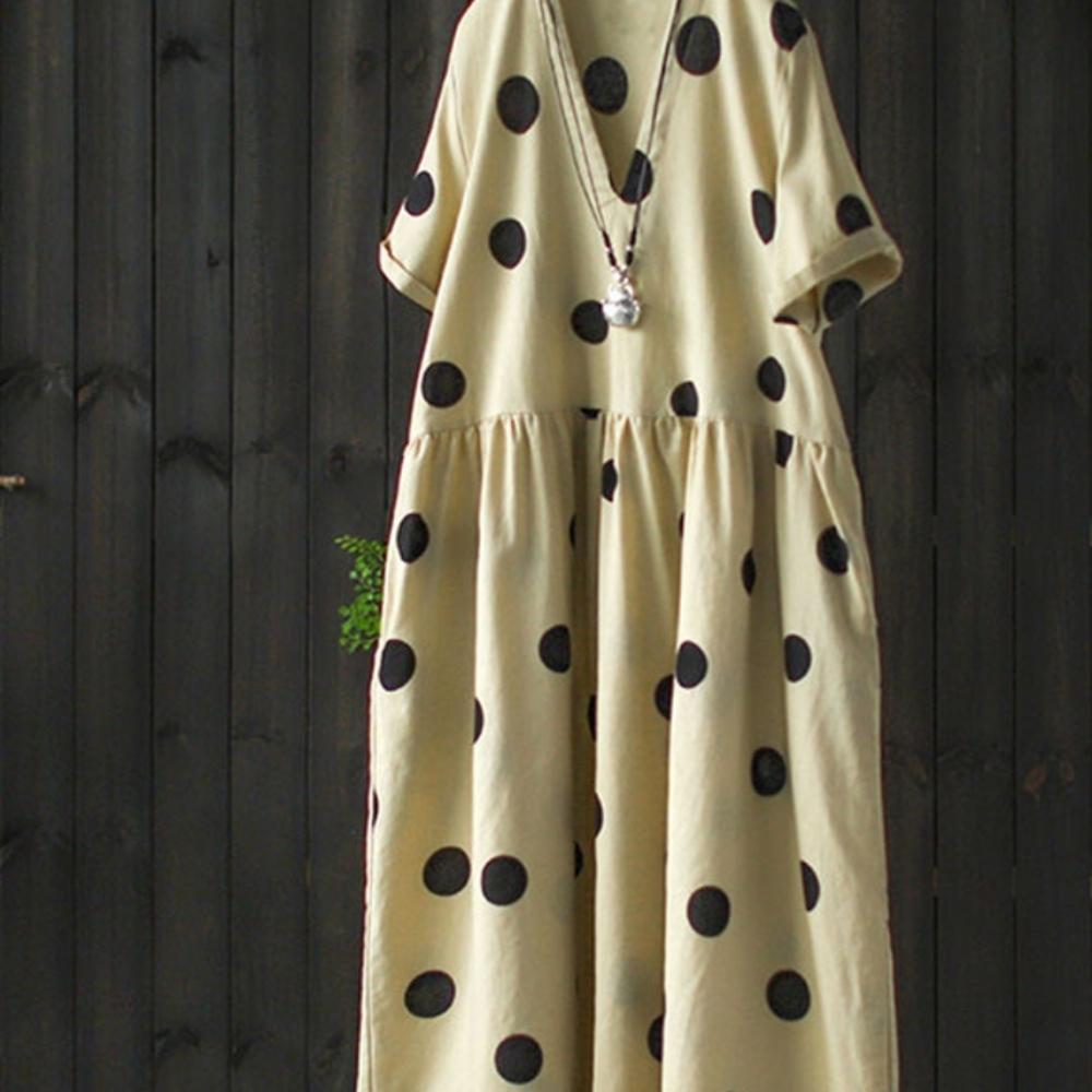 垂墜感棉麻短袖v領長洋裝-設計所在