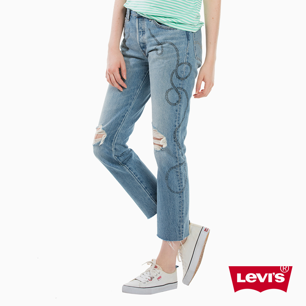 Levis 女款 501 中腰排扣直筒牛仔長褲 褲腳不收邊