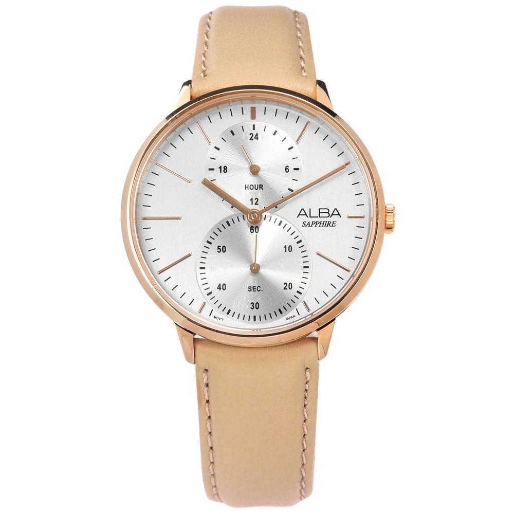 ALBA 極致完美 藍寶石水晶玻璃 真皮手錶-銀x玫瑰金框x膚/38mm