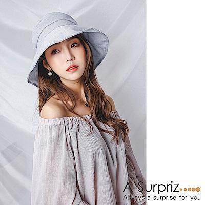 A-Surpriz 氣質大蝴蝶結遮陽布帽(淺灰)附防風繩
