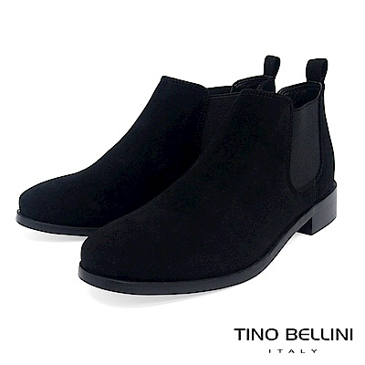 Tino Bellini 簡約質感布料低筒切爾西靴 _ 黑