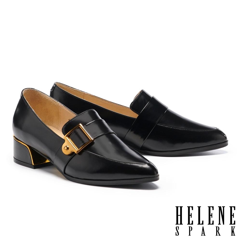 低跟鞋 HELENE SPARK 紳士雅痞方型針釦皮帶尖頭粗低跟鞋-黑