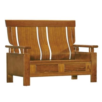 綠活居 魯瑟典雅風實木抽屜二人座沙發椅(二抽屜設置)-132x76x103cm免組